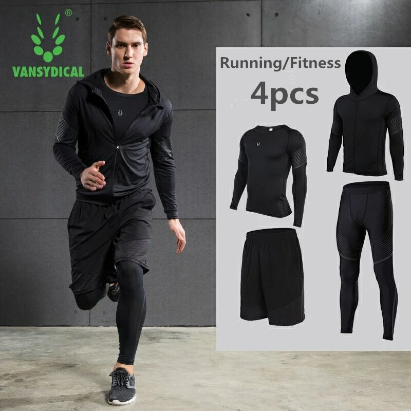 Hot Men's Running Sets 4pcs/set Compression Quick Dry Sports Suits Basketball Tights Workout Gym Fitness Kits Jogging Sportswear - 2