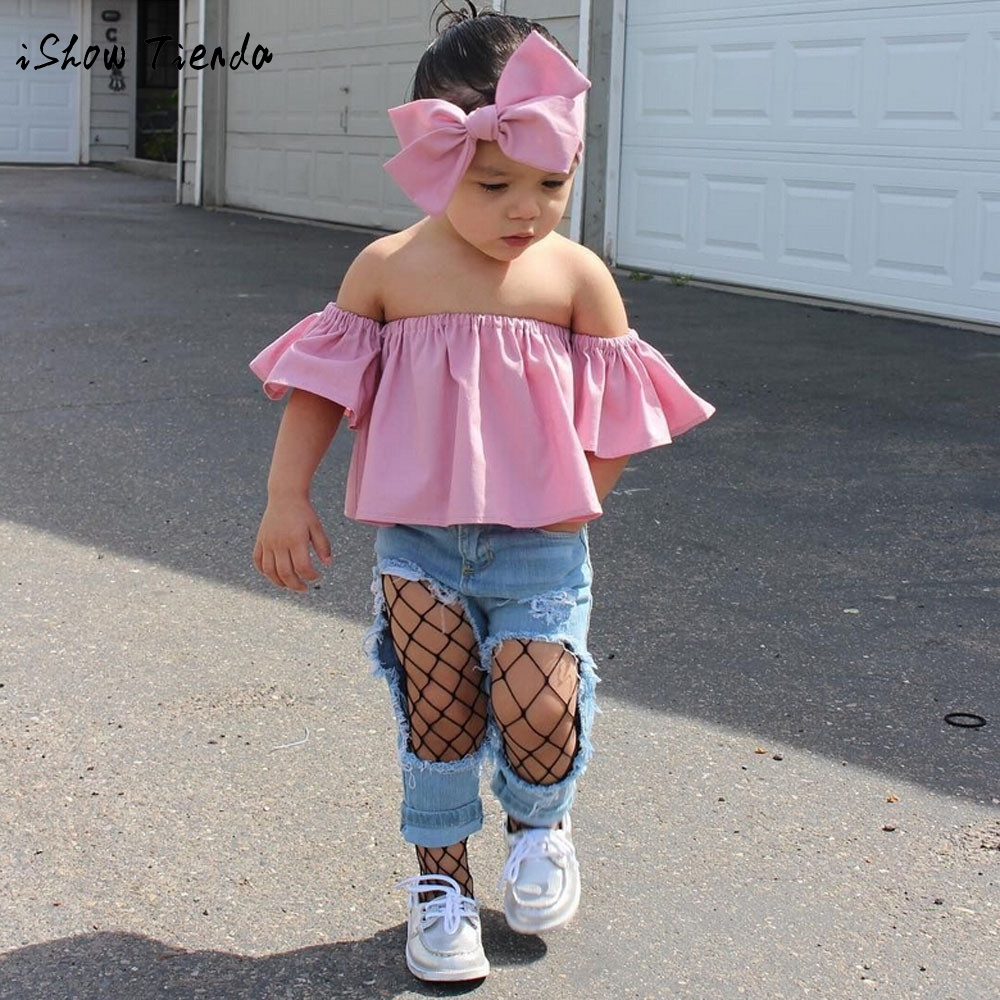 MUQGEW 2018 new spring baby girls Clothes set Toddler Off Shoulder Ruffle Top T-Shirt bow headband cotton costumefor kids