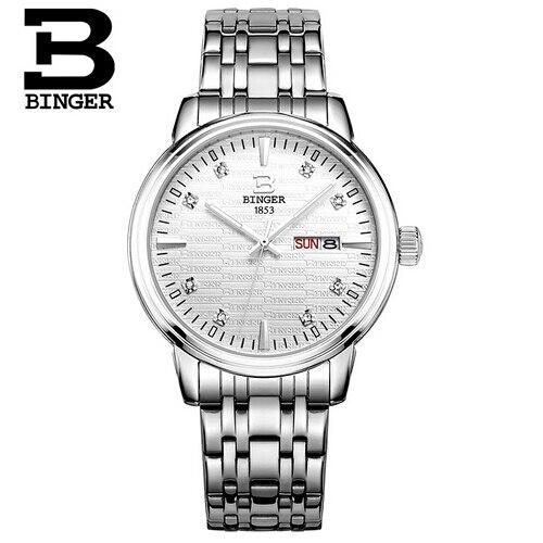 Switzerland Binger Limited Special Hardlex Alloy Quartz Crystal Men Analog Relogios Femininos 42mm Big Dial Fashion Mans Watch