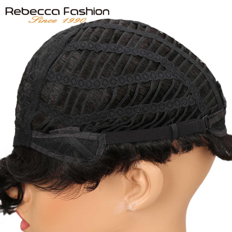 Rebecca krótkie falisty peruka brazylijski Remy ludzki włos peruki dla kobiet brązowe czerwone wino 10 kolorów do wyboru darmowa wysyłka