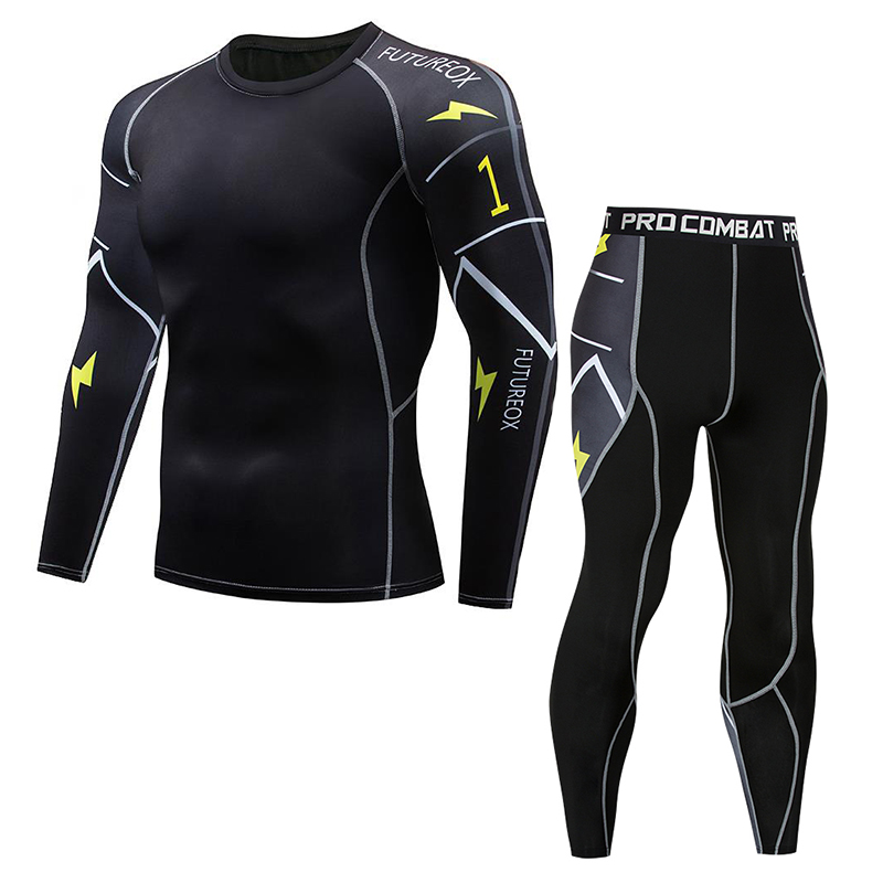 New 3D Men's Fitness Compression Set Muscle Bodybuilding Set, Long T-Shirt Fitness Set T-Shirt Set 2 MMA Breathable T-Shirts