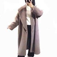 PTSLAN 2018 Новый осень зима Для женщин Натуральная Шерсть альпака длинная куртка пальто хорошее качество роскошные классические P4067