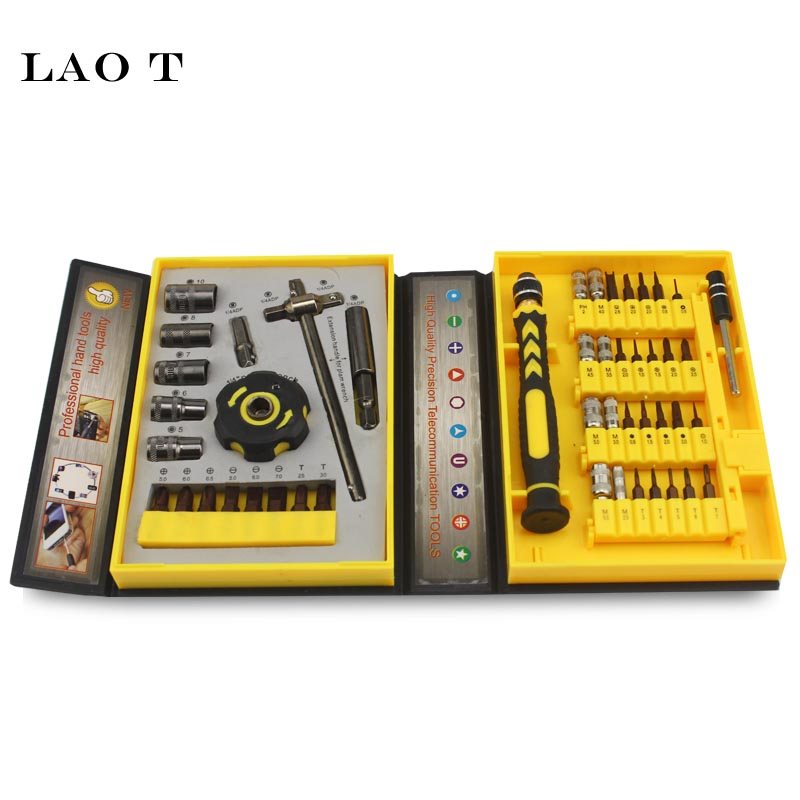 LAO T 47 In 1 Precision Sleeve Screwdrivers Telecommunication Tools CR-V Electronic Repair Tools Kit For Cell Phone IPhone Compu