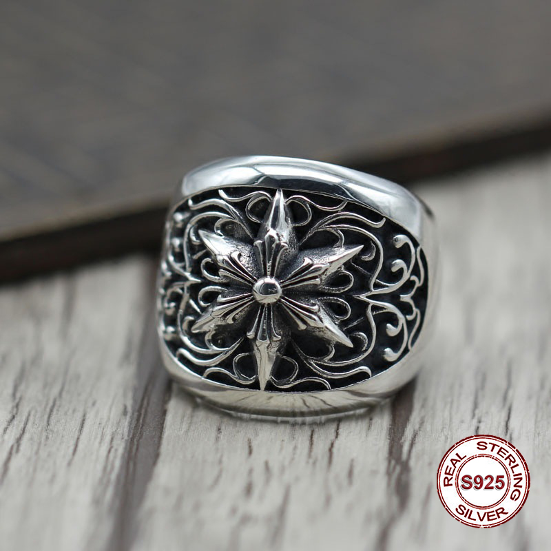 S925 pure silver men's ring individuality The punk style Do old restoring ancient ways Six-man ring Gift to your lover ornament punk wind restoring ancient ways do old crusades flowers bag buckles 925 sterling silver jewelry wholesale