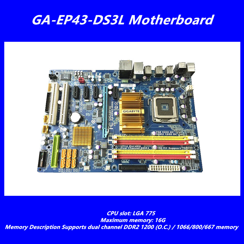 цены  original desktop motherboard for Gigabyte GA-EP43-DS3L LGA775 DDR2 boards EP43-DS3L P43 motherboard free shipping