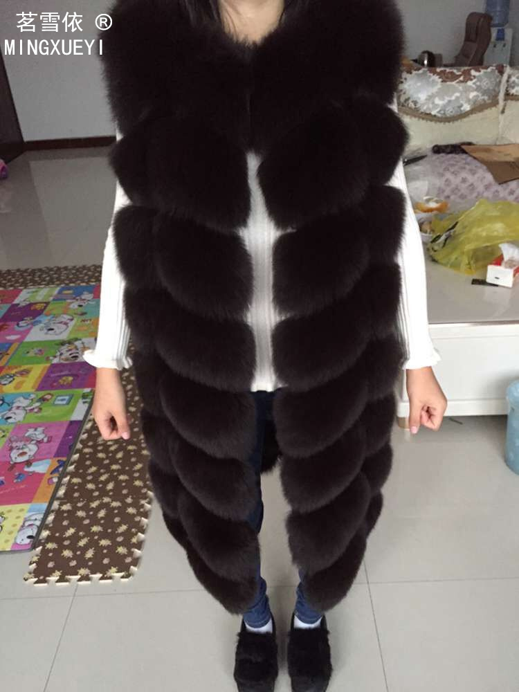 2019 Real Fox Fur Vest  Outerwear Fur Overcoat Long Design O-neck Sweater Vest Waistcoat Women's