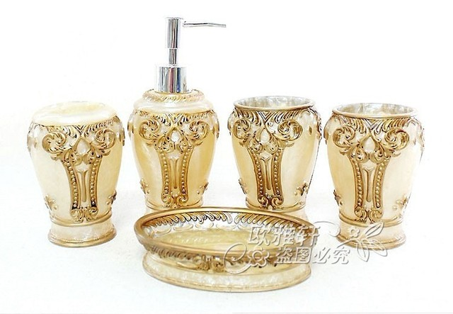 free shipping Wedding gift bathroom suite resin bathroom set  five pieces per set fashion poly resin product
