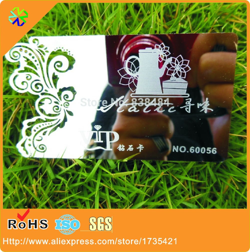 custom high quality engraved top grade mirrored lens metal cards stainless steel business cards die cut customized creative