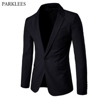 Classic Black Suit Men 2018 New Brand Solid Color One button Blazer Jacket Mens Slim Fit Business Club Holiday Casaco Masculino