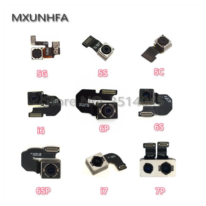 Caméra arrière principale pour iPhone 5 5s 5c Se 6 6plus 6S 7 8 Plus X caméra arrière avec câble flexible face aux pièces de rechange testées