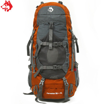men's cheap 55L big capacity mountaineering backpack bags travel hiking multi use Blue/Orange/Green camping backpack bag
