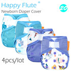 (4pcs/lot) Happy Flute newborn diaper cover for NB baby,double leaking guards, waterproof and breathable