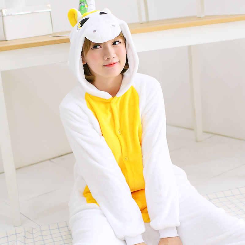 Толстые фланелевые Мультяшные женские пижамы с длинным рукавом Животные с  капюшоном Жираф Единорог унисекс теплые пижамы 440f9062d901d