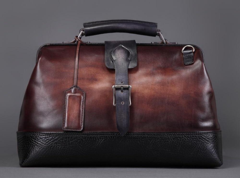 Fildens Vintage Leather Tote Bags Mens Laptop Handbag Handmade Genuine Briefcase Travel Bag