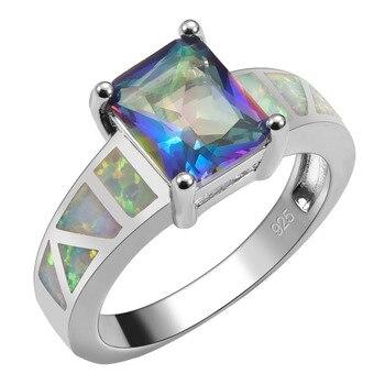 Creado azul Arco Iris cristal circonio con ópalo de fuego blanco 925 Plata de Ley anillo de alta cantidad para mujer tamaño 6 7 8 9 10 R1550