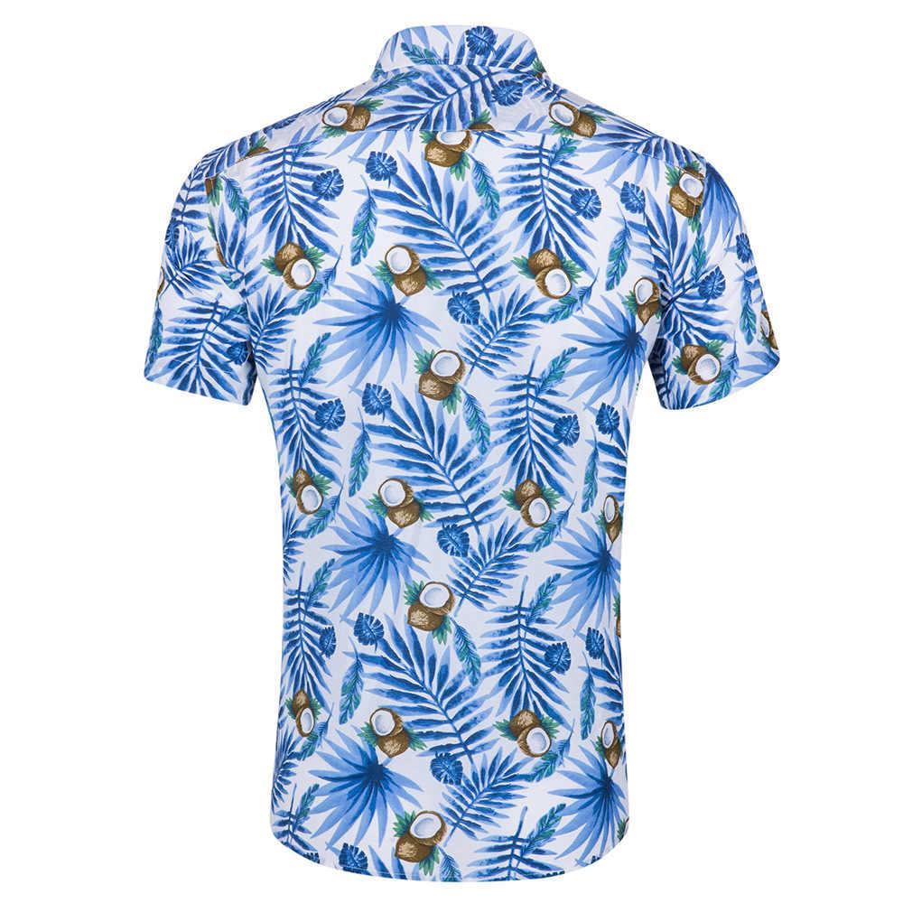 Для мужчин; гавайская рубашка короткий рукав пляжные вечерние рубашка 2018 мода кокосовое с фруктовым принтом повседневные платья Camisa Hawaiana Hombre