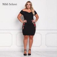 Miss Behave Plus Size Formele Party Korte Mouw Zwart Mini Jurk Jasmijn Borduren Grote Maat XL-3XL