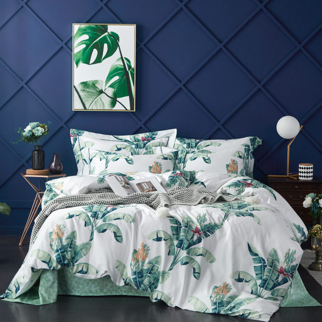 Comforter Bedding Sets Egyptian Cotton Bedding Set New Printed Bed Set Duvet Cover+Bed Sheet+Pillowcases M-Series Green Nordic