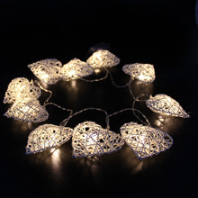 10pcs LEDs1.6M Battery Operated LED rattan heart shape Lights String for Holiday Party Decoration
