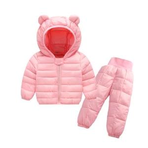 Image 4 - Комплекты зимней одежды для детей комплект из 2 предметов: куртка с капюшоном + штаны теплая куртка с хлопковой подкладкой для маленьких девочек Детские Зимние костюмы для мальчиков, От 1 до 5 лет
