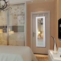 iKayaa Lockable Hanging Jewelry Cabinet Makeup Armoire Door/Wall Mounted Jewelry Storage Box Organizer Mirrored&LED Lights White
