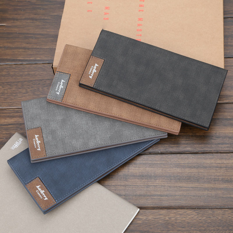 Baellerry Men Solid Casual Vintage Long Wallet Clip Hasp PU Leather Wallet Coin Pocket Card Holder Photo Holder Men Porta Wallet in Wallets from Luggage Bags