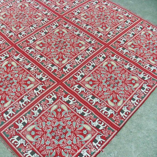 50x50 cm Leinen Jacquard Weave Stoff Indische Ethnic Elephant Floral ...
