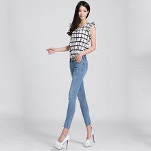 2016 New women jeans Beading worn female feet nine points Slim spring and summer wear pencil