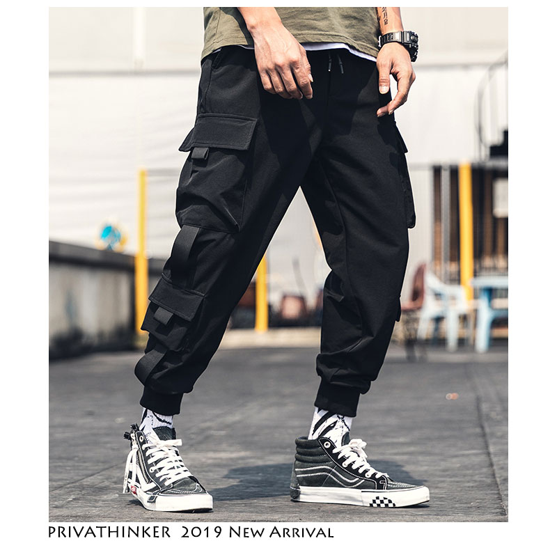 Privathinker Men Belt Ankel Length Joggers Pants 2019 Overalls Men Japanese Streetwear Baggy Sweatpants Pockets Black Sweatpants