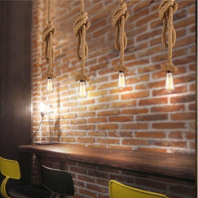 Single-head hemp rope pendant light Knitted Indoor Lighting Shop Restaurant Bar Living Room Lamp Vintage Pendant Lights E27