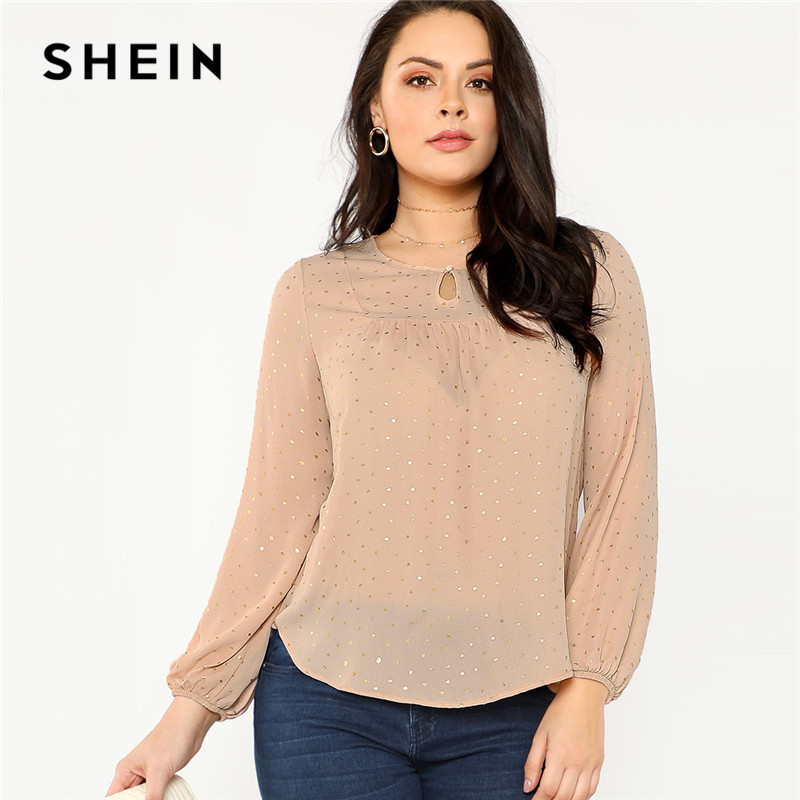 SHEIN Pink Long Lantern Sleeve Polka Dot Plus Size Women Blouse 2018 Autumn Office Lady Casual Round Neck Stretchy Top Blouses