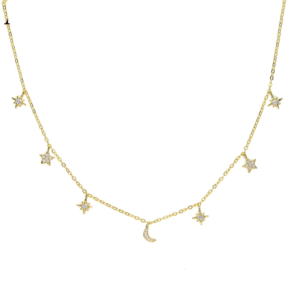 100% 925 sterling silver charm necklace chokers moon star sun tiny minimal cute charm lovely silver girl stunning jewelry gift