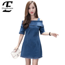 Elegdream Off the Shoulder Sexy Ladies Jeans Dress Fashion Women Short Mini Dresses Casual Ladies Clothing Vestidos Femininos XL
