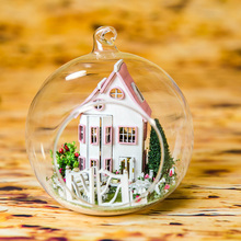 DIY Handmade Dollhouse Miniature Model With Furniture Glass Ball Hemp Rope Exquisite Casa Gift Toys For Children G012 #E
