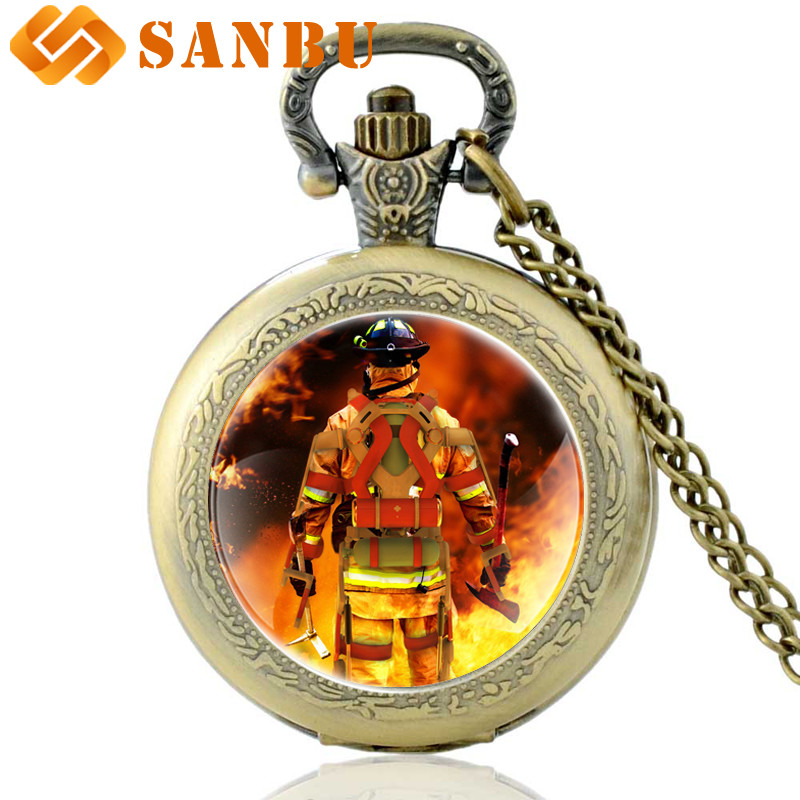 Vintage Bronze United States Firemen Quartz Pocket Watch Retro Men Women Firefighting Hero Pendant Necklace Clock Gift