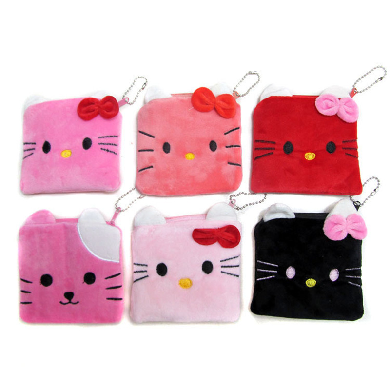 Cute Cartoon Coin Purse Square Cat Pattern Plush Coin Purses Wallet Little Girl Child Zipper Card Bag 11*10.5cm