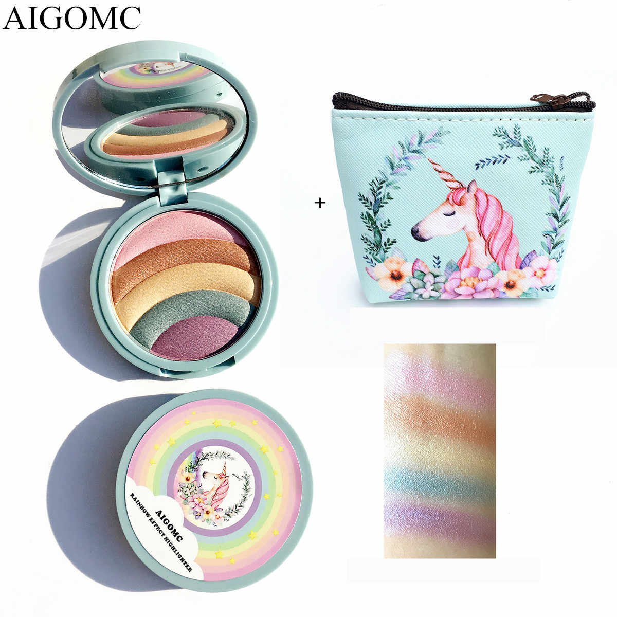 AIGOMC Unicorn Glow Kit Highlighter 5 Colors Highlighter Palette Face Contour Rainbow Highlighter With cosmetic bag Makeup Set
