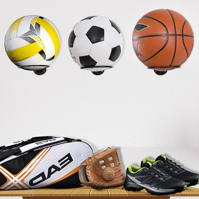 Clispeed 2PCS Wall-Mounted Ball Holders Display Racks for Basketball Soccer Football Volleyball Exercise Ball (Black)