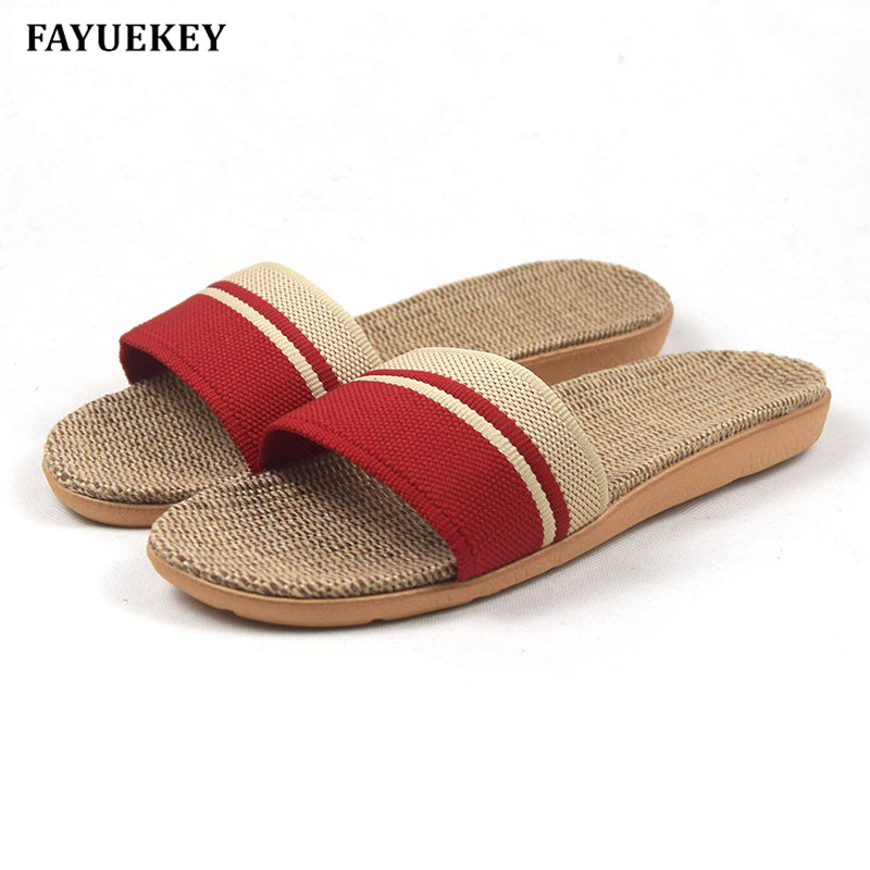 FAYUEKEY New Fashion Summer Home Striped Linen Slippers Women Indoor\ Floor Non-slip Beach Slides Flat Shoes Girls Gift coolsa women s summer flat non slip linen slippers indoor breathable flip flops women s brand stripe flax slippers women slides
