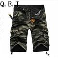 Q.E.J 2017 shorts masculina Camouflage Cargo Military Shorts Men  Cotton Loose  Shorts Men Army Short Pants Bermuda