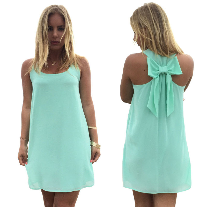 2019 new fashion sexy casual beach dress back bow cocktail dinner chiffon dress plus size 3XL Vestidos de fiesta C1129