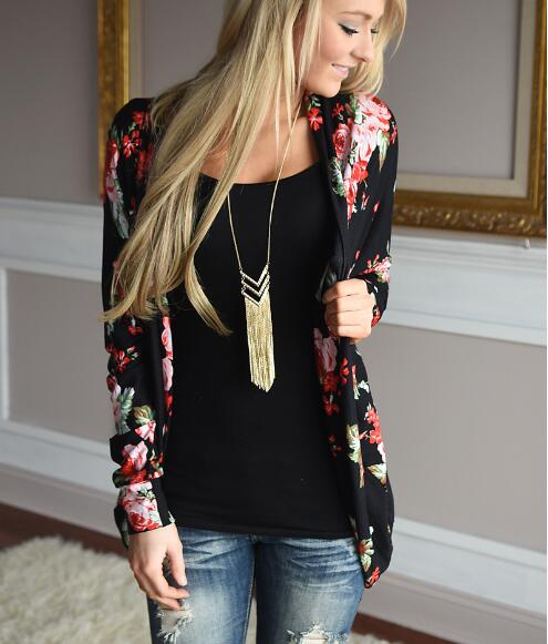 2017 autumn printing flowers fashion women's coat winter outwear slim Blazers Jacket Top Tunic