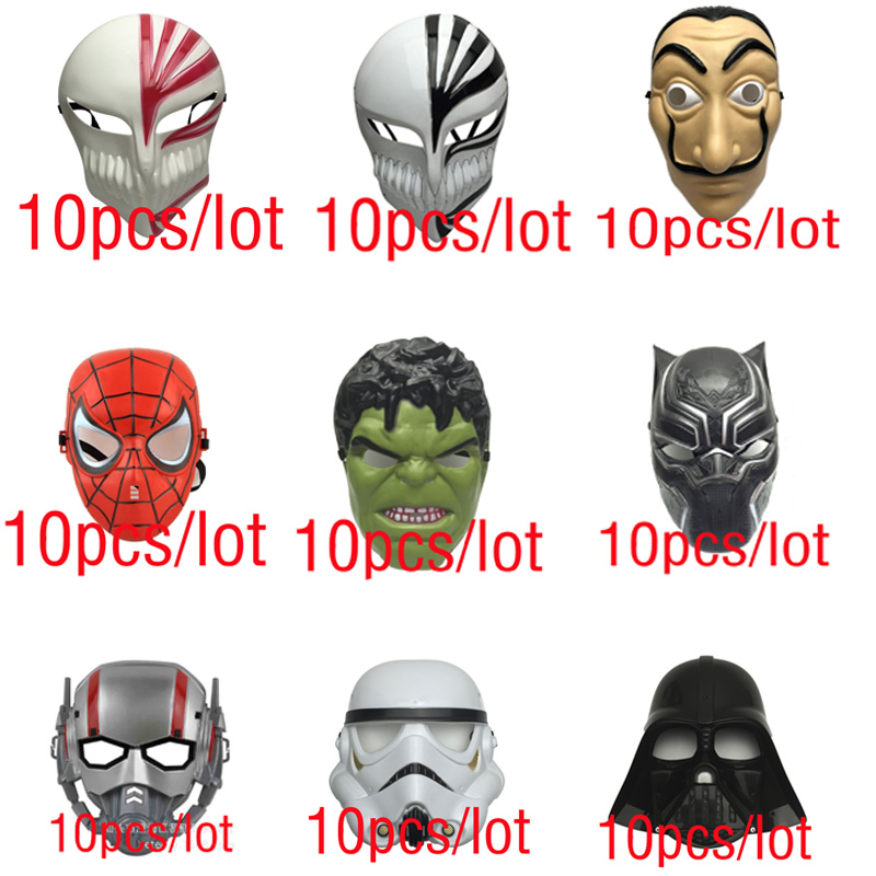 10pcs/lot La Casa De Papel Mask Hard Plastic Avengers Star Wars Hulk Spider-Man Black Panther Ant Black Warrior Mask
