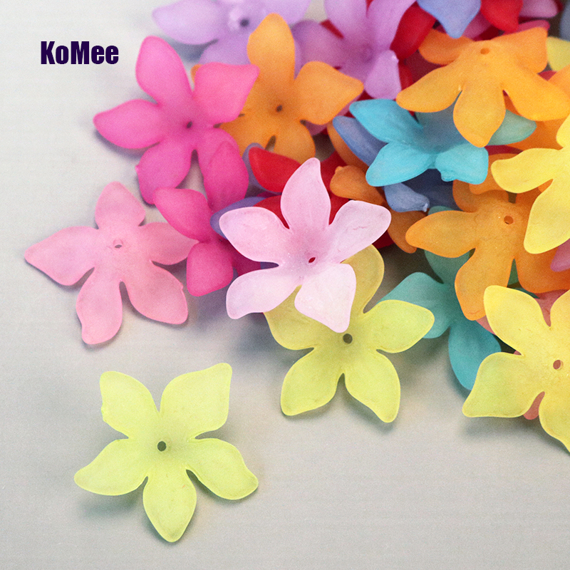 Free Shipping Mixed 100Pcs 28mm Acrylic Flower beads Charm Mixed Colorful Sharp Petal Flower Acrylic Spacer Beads Handmade DIY