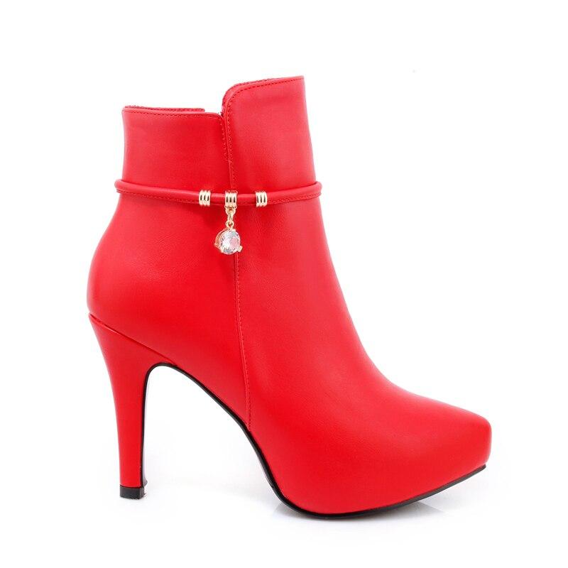 alto Nero Fashion punta bianco rosso Femsle Lady cristallo New Wetkiss tacco Pu a Boot Ankle 2018 punta Donna Red piattaforma Bootie a calda scarpe in qBxFTRwxv