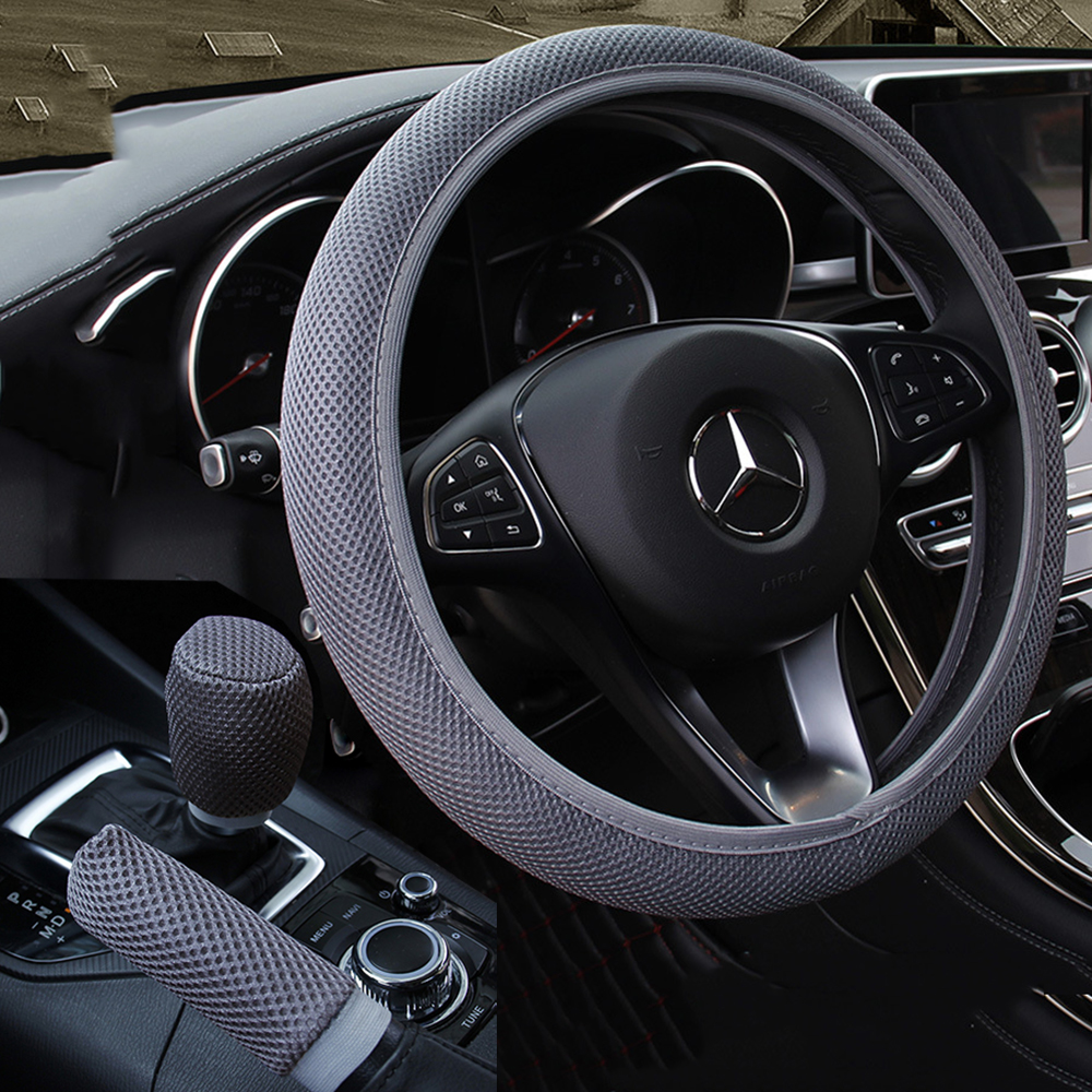 Car Steering Wheel Cover braid + Handbrake cover + Car Automatic Covers ice Silk Gear shift 3pcs Car Accessories Anti-slip(China)