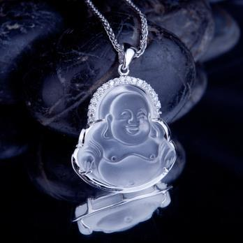 Free shipping top quality White crystal Buddha pendant hot sale sterling Silver mosaic statues