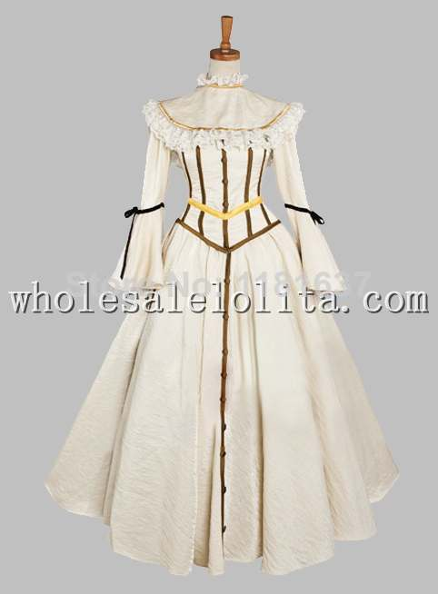 Beige Noble Victorian Era Dress with Shawl Party Dress Cosplay Dress