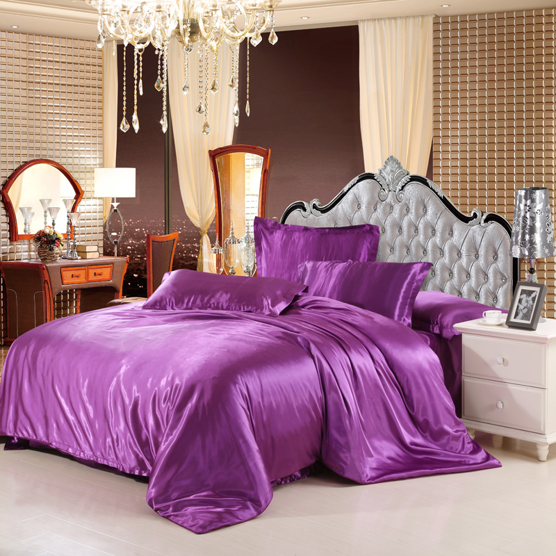 sale classic imitate silk feel satin solid coffee pink purple bedding set king size duvet cover
