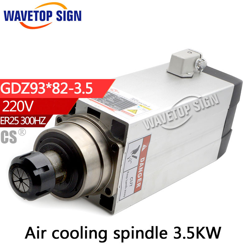 air cooling spindle 3.5kw GDZ93*82-3.5 220V 15A  300HZ 18000RPM  ER25 4p air cooling cnc dc spindle motor 500w 24v 0 629nm air cooling er11 brushless for diy pcb drilling new 1 year warranty free technical support